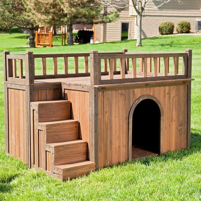 Двухэтажная будка с лестницей для небольшой собаки