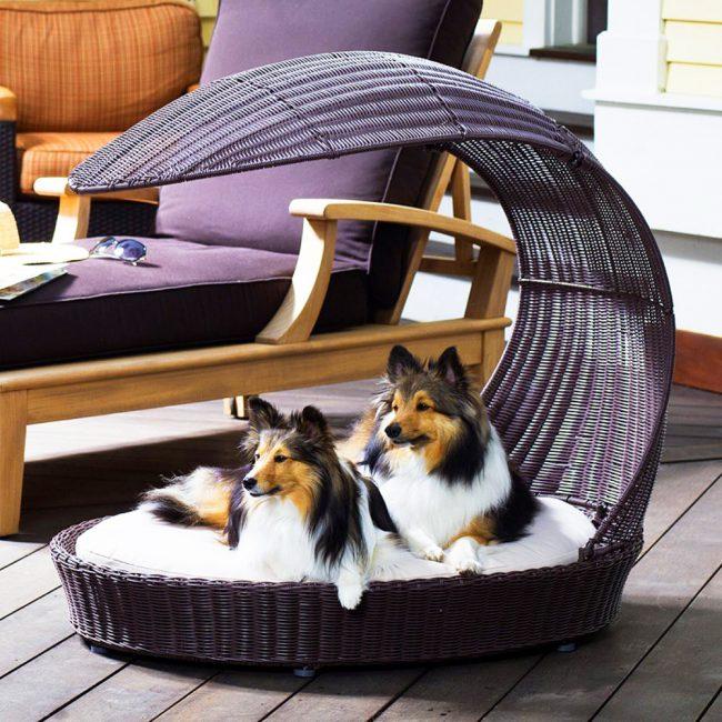 Лежак с навесом для собак из искусственного ротанга