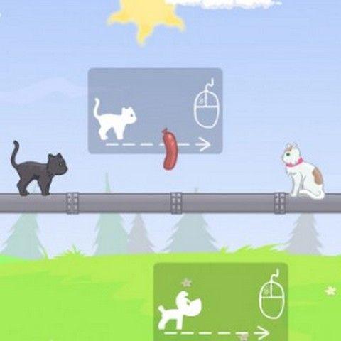 """Помоги встретиться собачке и кошечке в игре """"Соединяя сердца"""""""