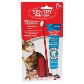 Зубная щётка и паста для кота