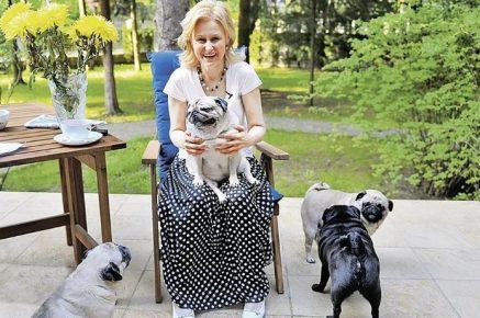Дарья Донцова с мопсами на прогулке