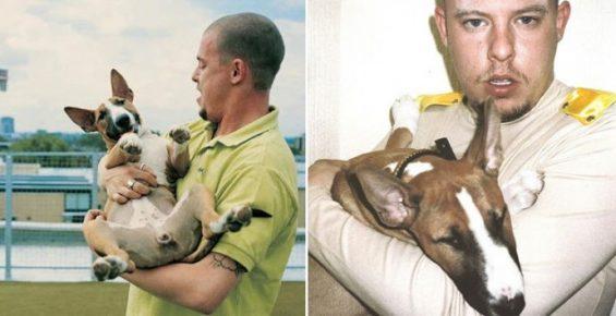 Александр МакКуин с собакой на руках