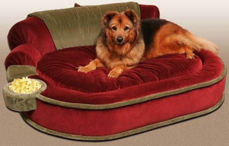 лежак для собаки с кормушкой