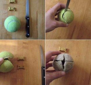 Игрушка из теннисного мяча
