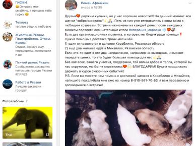 Пост ВК, кто и когда забирает щенка