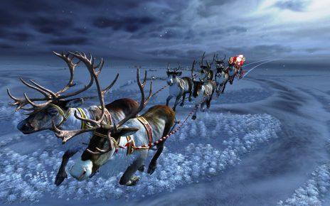 Повозка Санты с северными оленями