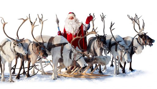 Санта с северными оленями