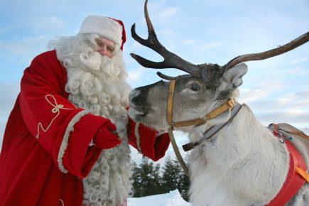 Санта-Клаус с северным оленем