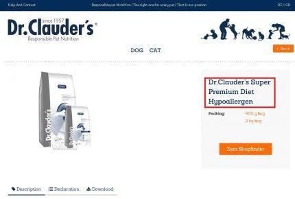 Скриншот с официального сайта Dr. Clauder's