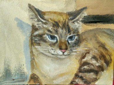 Тайская кошка на картине