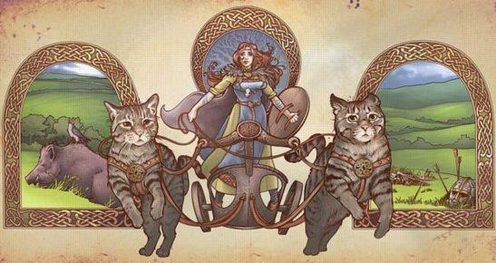 Богиня Фрейя и кошки