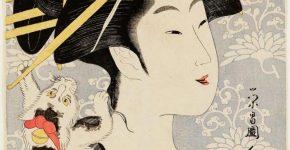 Японская гравюра с изображением женщины и кошки