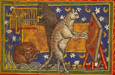 Изображения котов на средневековой гравюре (XII в)