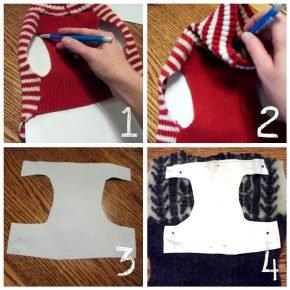 Снятие выкройки для кошачьего свитера