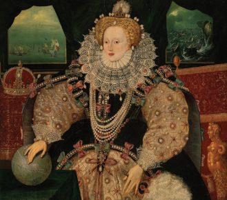 Королева Елизавета в платье с пышным воротником